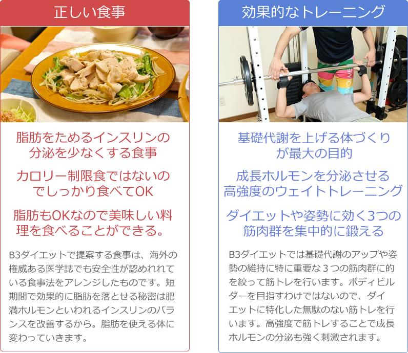 正しい食事と効果的なトレーニングの解説